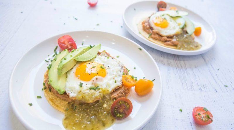 Egg, Bean and Chorizo Tostada with Salsa Verde