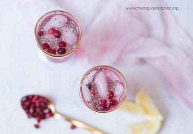 Low Carb Pomegranate Lemon Spritzer with Chia
