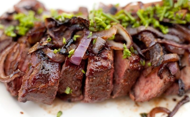 BBQ Tri-tip with Pomegranate BBQ Sauce and Caramelized Onions