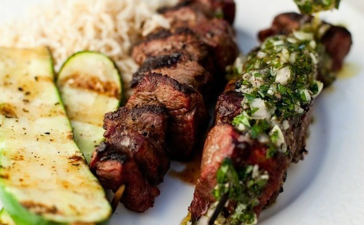 Argentinian Beef kabobs with Chimmi Churri Sauce