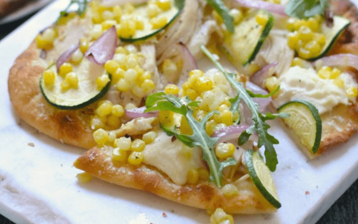 Easy Zucchini & Corn Grilled Naan Pizza!